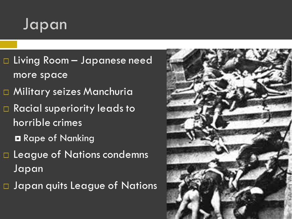 Japan LLiving Room – Japanese need more space MMilitary seizes Manchuria RRacial superiority leads to horrible crimes RRape of Nanking LLeague of Nations condemns Japan JJapan quits League of Nations