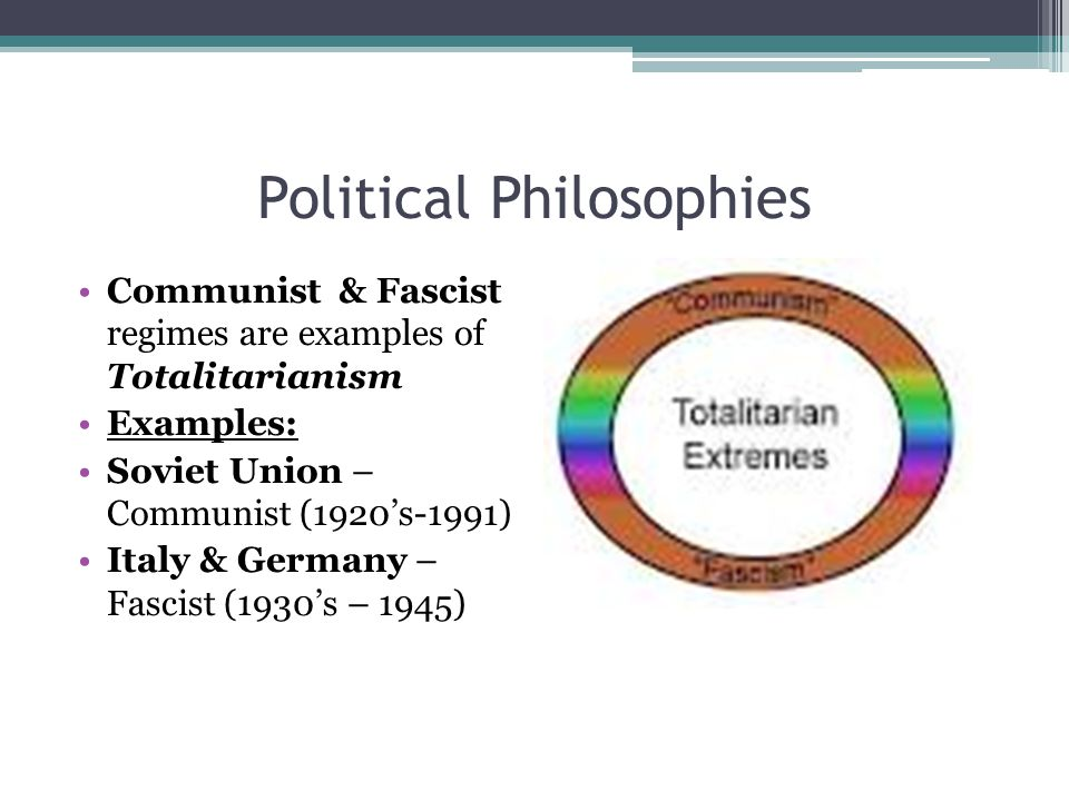 Political Philosophies Communist & Fascist regimes are examples of Totalitarianism Examples: Soviet Union – Communist (1920's-1991) Italy & Germany – Fascist (1930's – 1945)