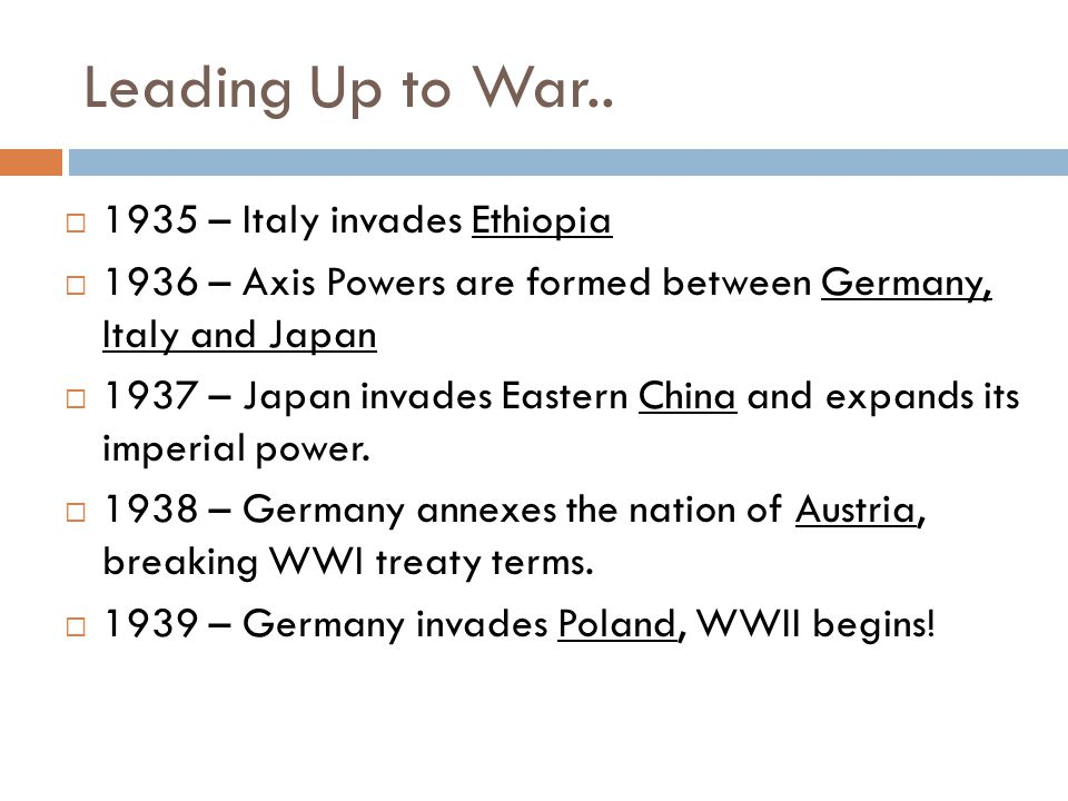 Leading Up to War..