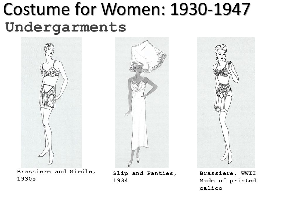 Costume for Women: 1930-1947 Undergarments Slip and Panties, 1934 Brassiere and Girdle, 1930s Brassiere, WWII Made of printed calico