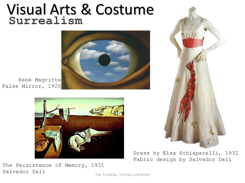Visual Arts & Costume Surrealism René Magritte False Mirror, 1928 The Persistence of Memory, 1931 Salvador Dali Dress by Elsa Schiaparelli, 1932 Fabric design by Salvador Dali The Twenties, Thirties, and WWII