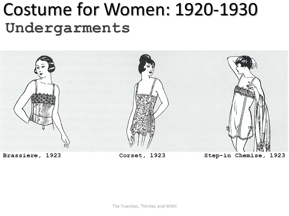 Costume for Women: 1920-1930 Undergarments Brassiere, 1923 Corset, 1923 Step-in Chemise, 1923 The Twenties, Thirties, and WWII