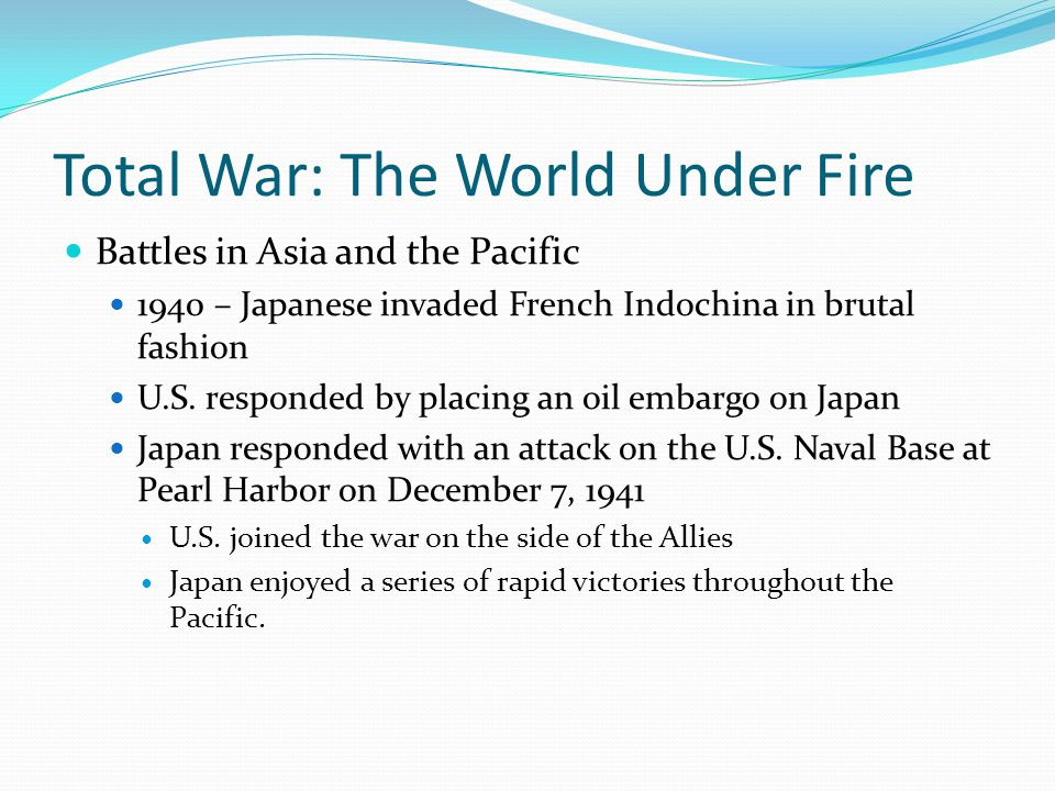 Total War: The World Under Fire Battles in Asia and the Pacific 1940 – Japanese invaded French Indochina in brutal fashion U.S.