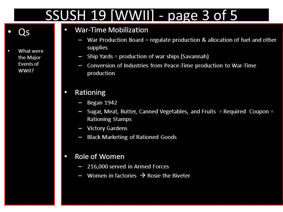 SSUSH 19 [WWII] - page 3 of 5 Qs What were the Major Events of WWII.