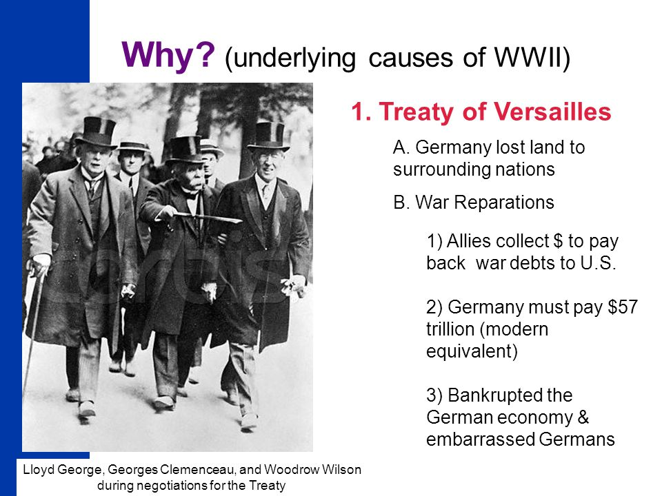 10 Why.(underlying causes of WWII) 1. Treaty of Versailles A.