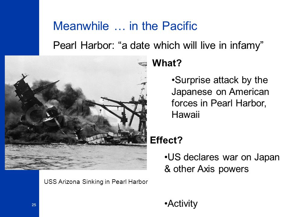 25 Meanwhile … in the Pacific Pearl Harbor: a date which will live in infamy USS Arizona Sinking in Pearl Harbor What.
