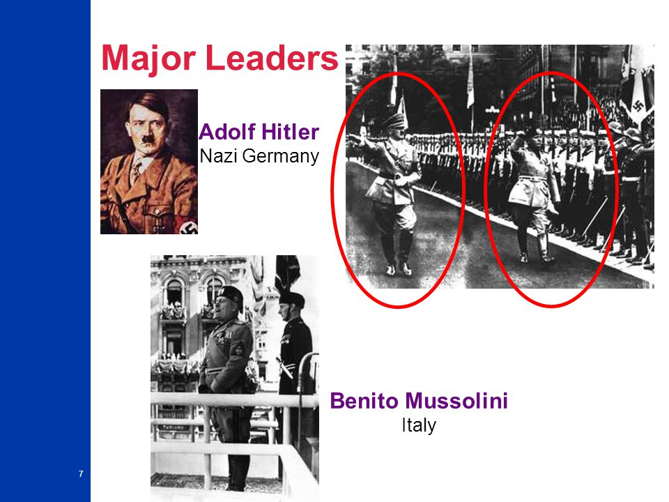 7 Major Leaders Adolf Hitler Nazi Germany Benito Mussolini Italy