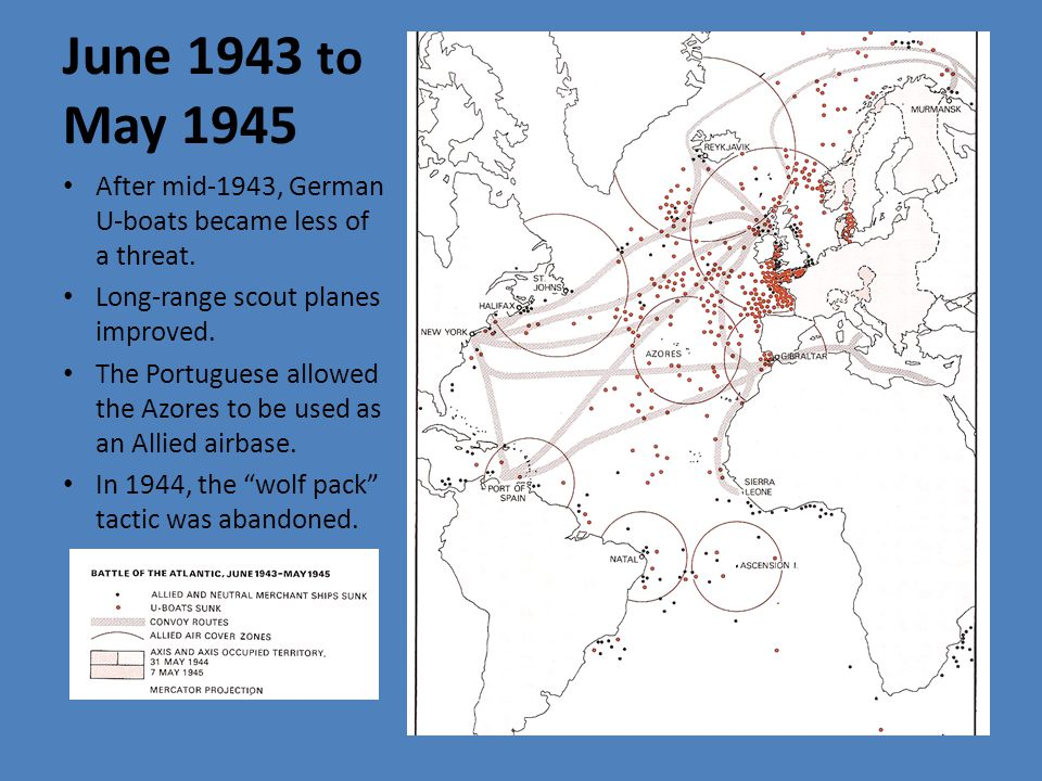 June 1943 to May 1945 After mid-1943, German U-boats became less of a threat.
