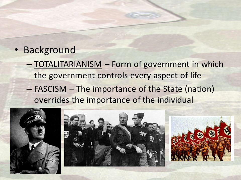 2 Fascist Leaders Benito Il Duce Mussolini of Italy – Angry about WWI peace settlement – Organized fascist groups – Used thugs called blackshirts to terrorize opposition – Suspended elections and established a Dictatorship Adolf Der Fuhrer Hitler of Germany – Angry about WWI peace settlement – Joined Nazi Party – Sentenced to 5 years for trying to overthrow government – Wrote MEIN KAMPF (My Struggle) while in prison – Outlined Nazi philosophy – Defined Germany's problems – Detailed plans for the nation – Blamed Jews for problems and loss of WWI – Promised to rebuild German empire and stabilize Germany – Gained power and became head of German state