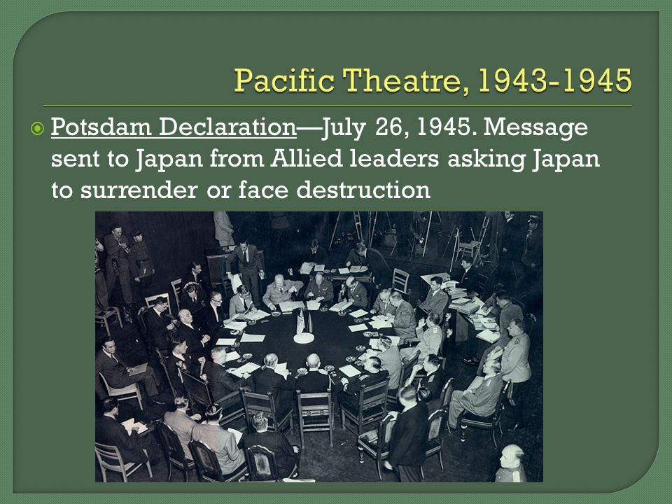  Potsdam Declaration—July 26, 1945.
