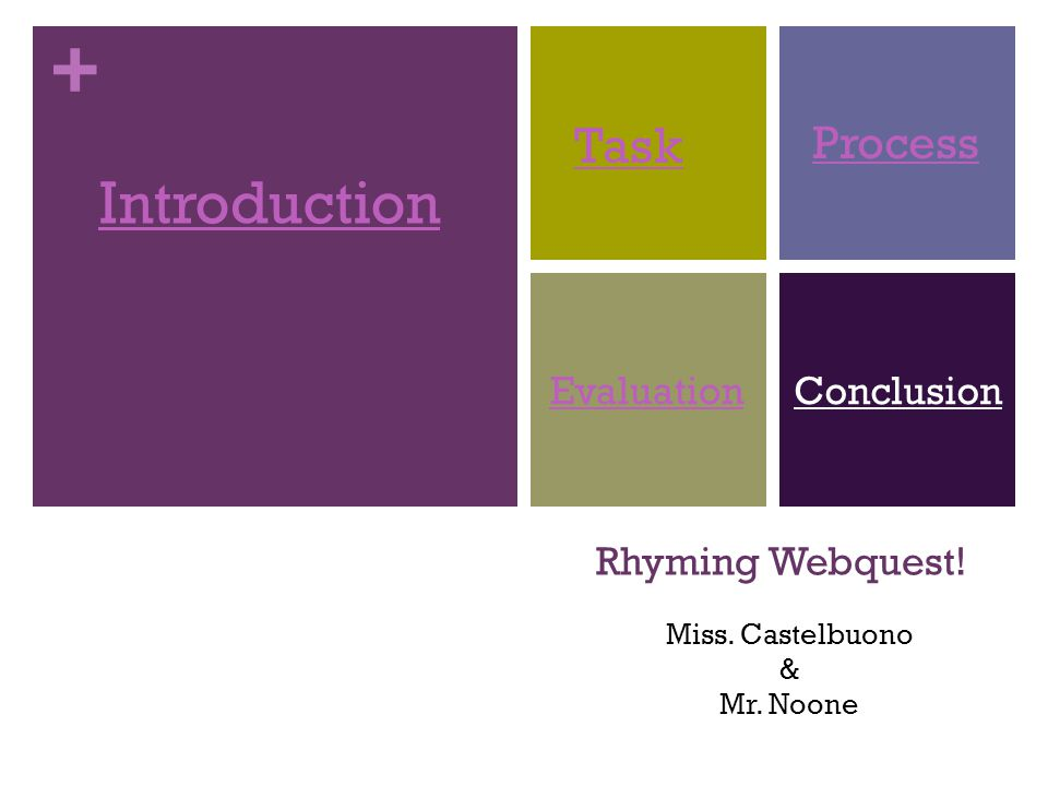+ Rhyming Webquest! Introduction Task Process EvaluationConclusion Miss. Castelbuono & Mr. Noone