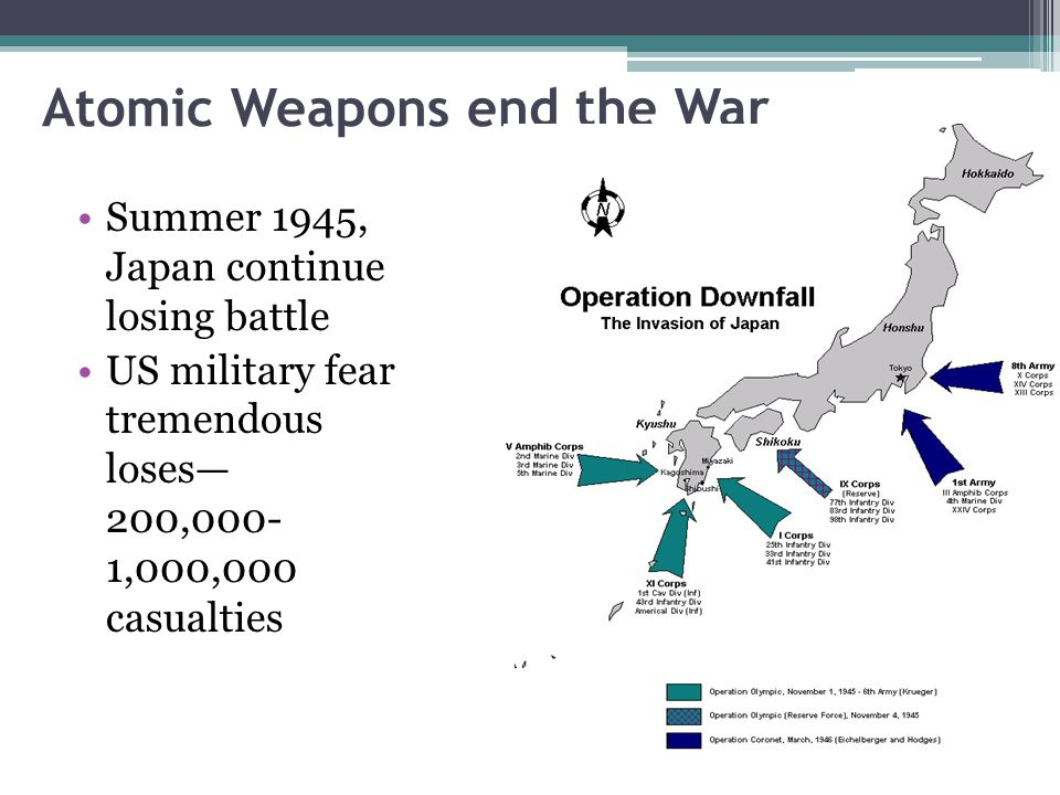 Atomic Weapons end the War Summer 1945, Japan continue losing battle US military fear tremendous loses— 200,000- 1,000,000 casualties