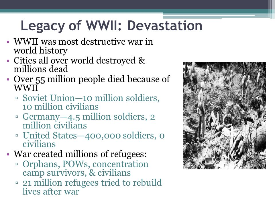Legacy of WWII: Devastation WWII was most destructive war in world history Cities all over world destroyed & millions dead Over 55 million people died