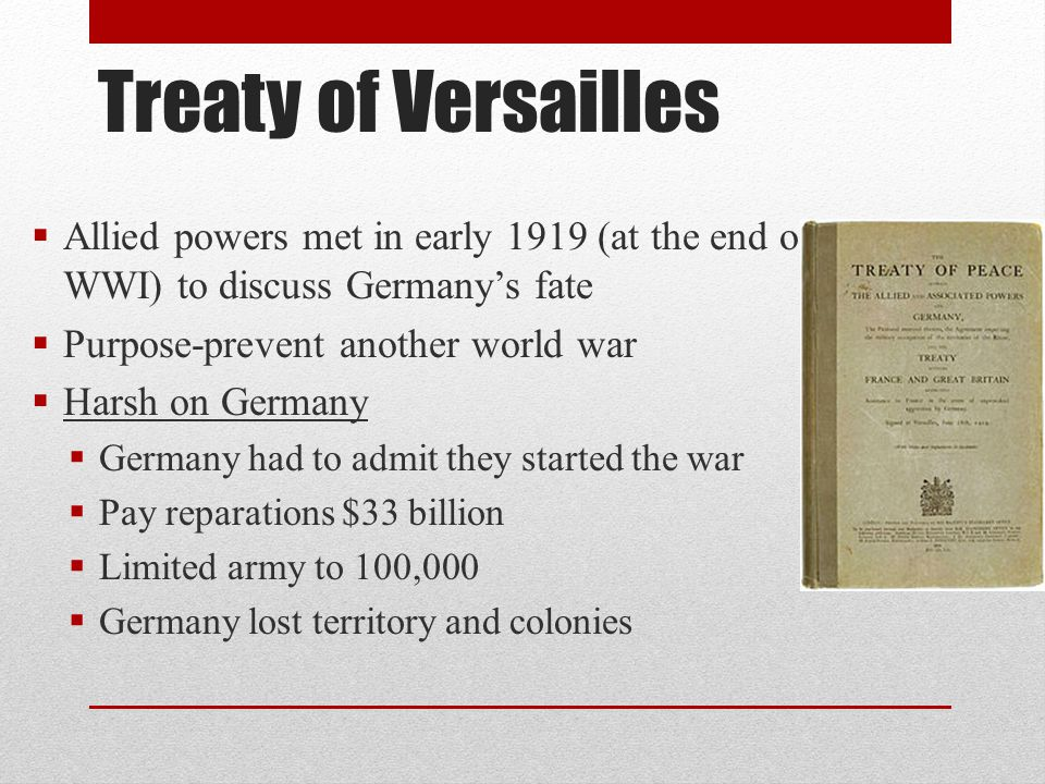 Germany and the Great Depression  Germany's econ went down the tubes  To pay for the war the govt.