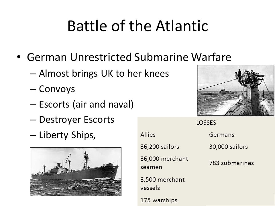 Battle of the Atlantic German Unrestricted Submarine Warfare – Almost brings UK to her knees – Convoys – Escorts (air and naval) – Destroyer Escorts – Liberty Ships, LOSSES AlliesGermans 36,200 sailors30,000 sailors 36,000 merchant seamen 783 submarines 3,500 merchant vessels 175 warships