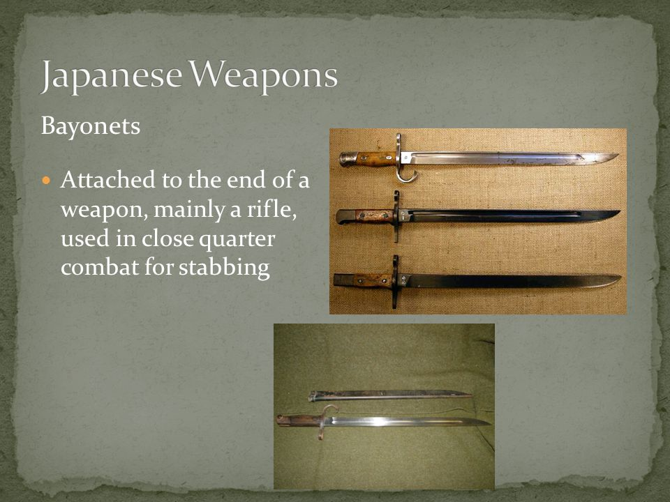 Attached to the end of a weapon, mainly a rifle, used in close quarter combat for stabbing Bayonets