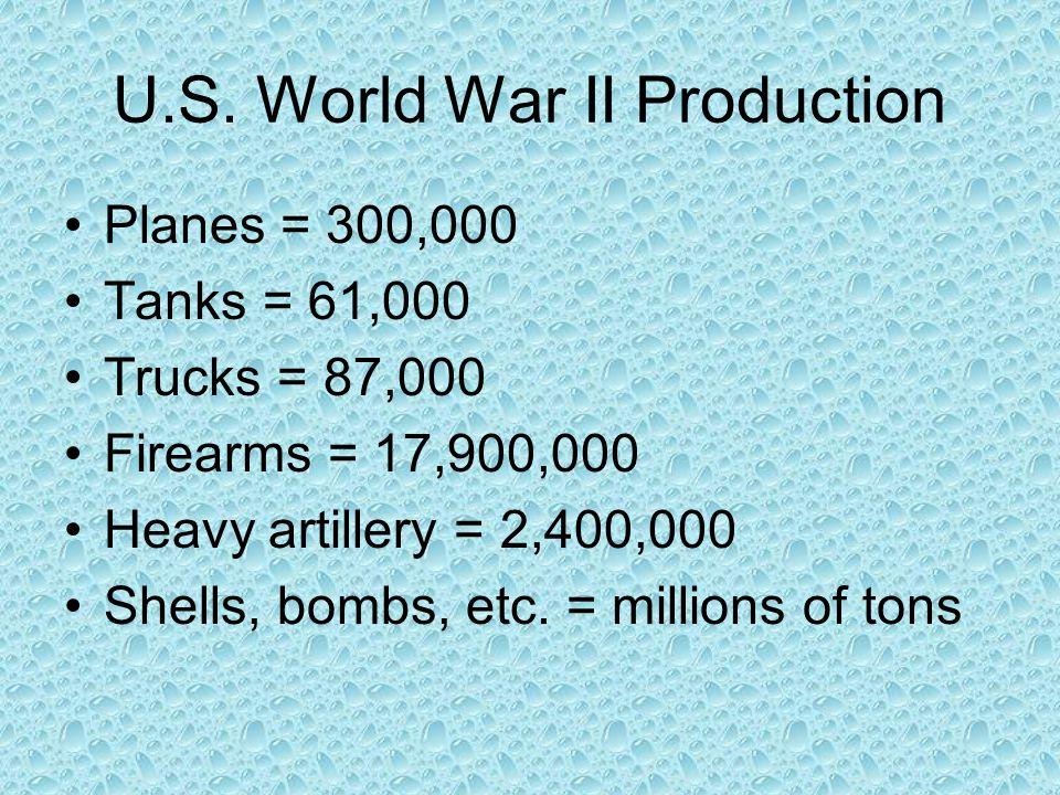 U.S. World War II Production Planes = 300,000 Tanks = 61,000 Trucks = 87,000 Firearms = 17,900,000 Heavy artillery = 2,400,000 Shells, bombs, etc. = m