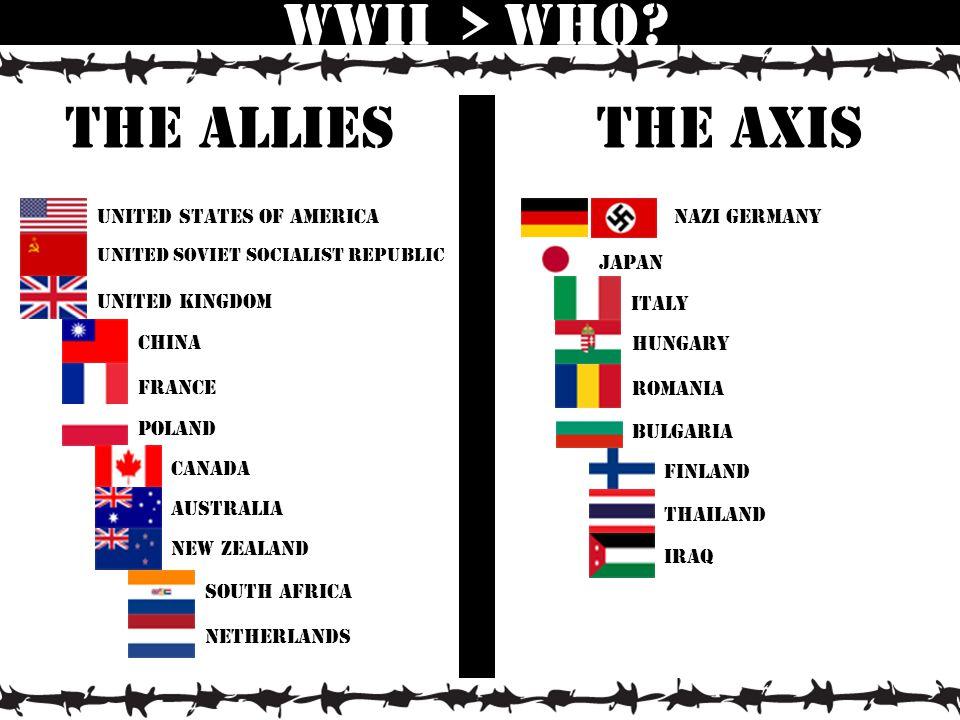 united states of America United kingdom united Soviet Socialist Republic china france poland Canada australia New zealand South africa netherlands WWII > Who.