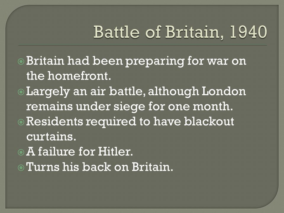 Britain had been preparing for war on the homefront.