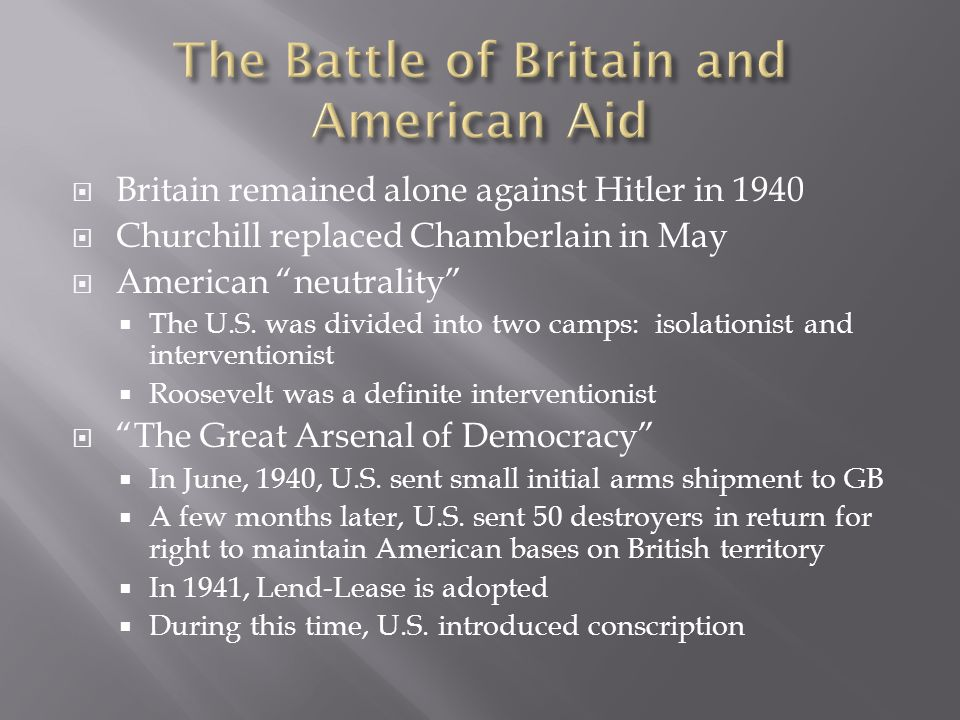  Britain remained alone against Hitler in 1940  Churchill replaced Chamberlain in May  American neutrality  The U.S.