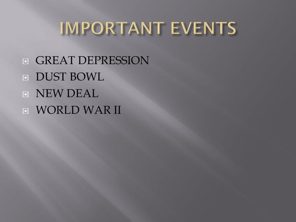  GREAT DEPRESSION  DUST BOWL  NEW DEAL  WORLD WAR II
