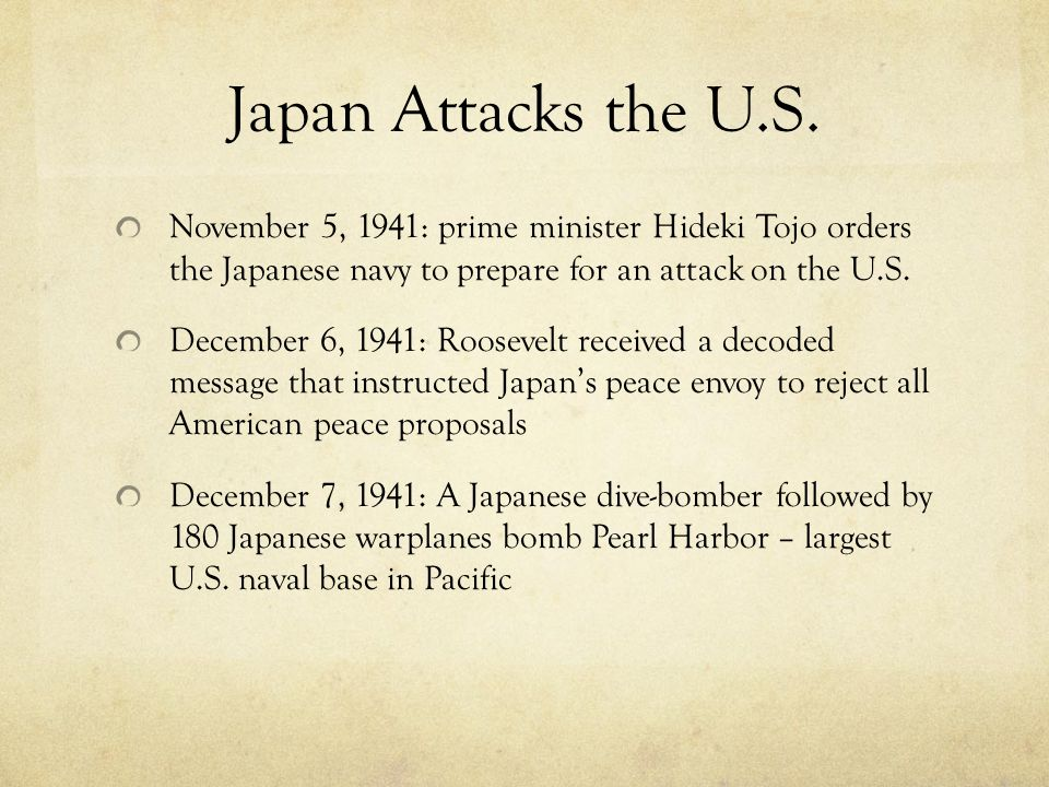 Japan Attacks the U.S.
