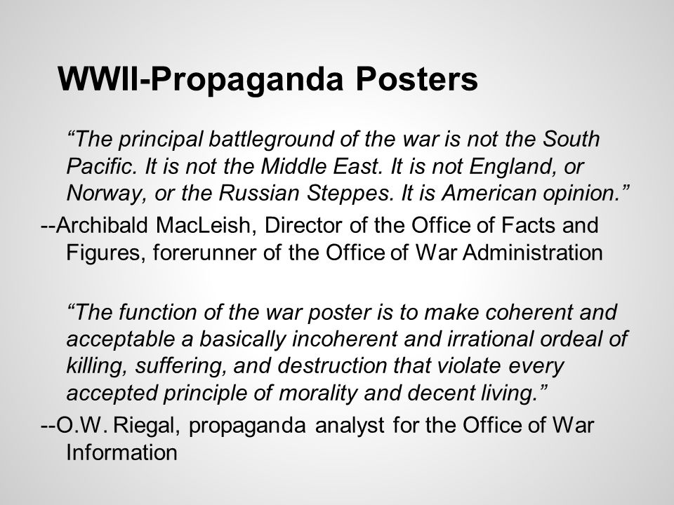 WWII-Propaganda Posters The principal battleground of the war is not the South Pacific.
