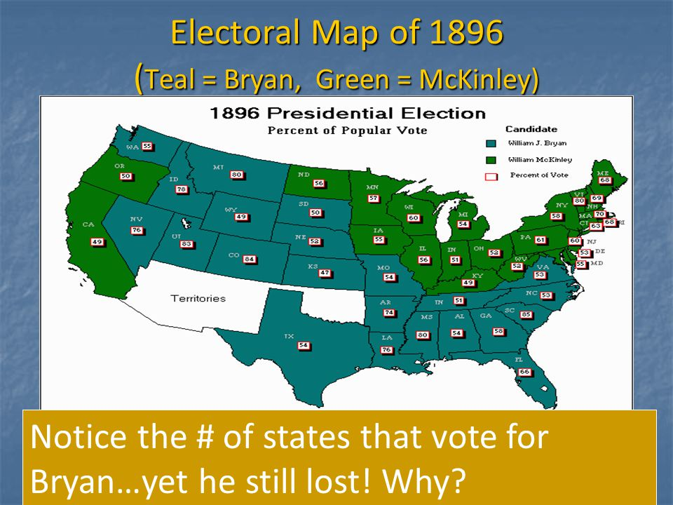 When McKinley became President, the depression of 1893 had just about died out, as well as the big fuss over silver.