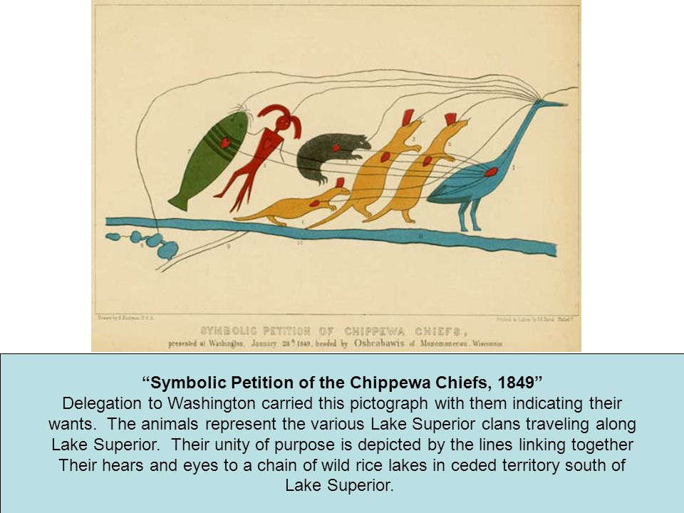 """""""Symbolic Petition of the Chippewa Chiefs, 1849"""" Delegation to Washington carried this pictograph with them indicating their wants. The animals repres"""