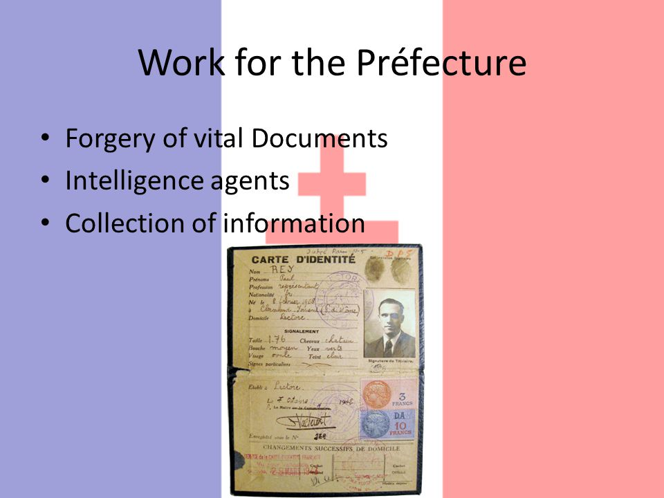 Work for the Préfecture Forgery of vital Documents Intelligence agents Collection of information
