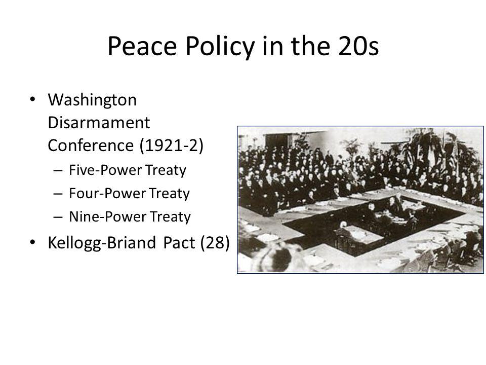 Peace Policy in the 20s Washington Disarmament Conference (1921-2) – Five-Power Treaty – Four-Power Treaty – Nine-Power Treaty Kellogg-Briand Pact (28)