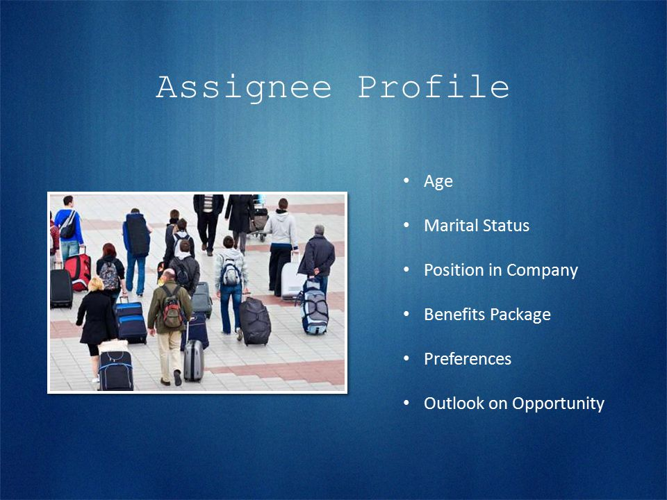 Assignee Profile Age Marital Status Position in Company Benefits Package Preferences Outlook on Opportunity