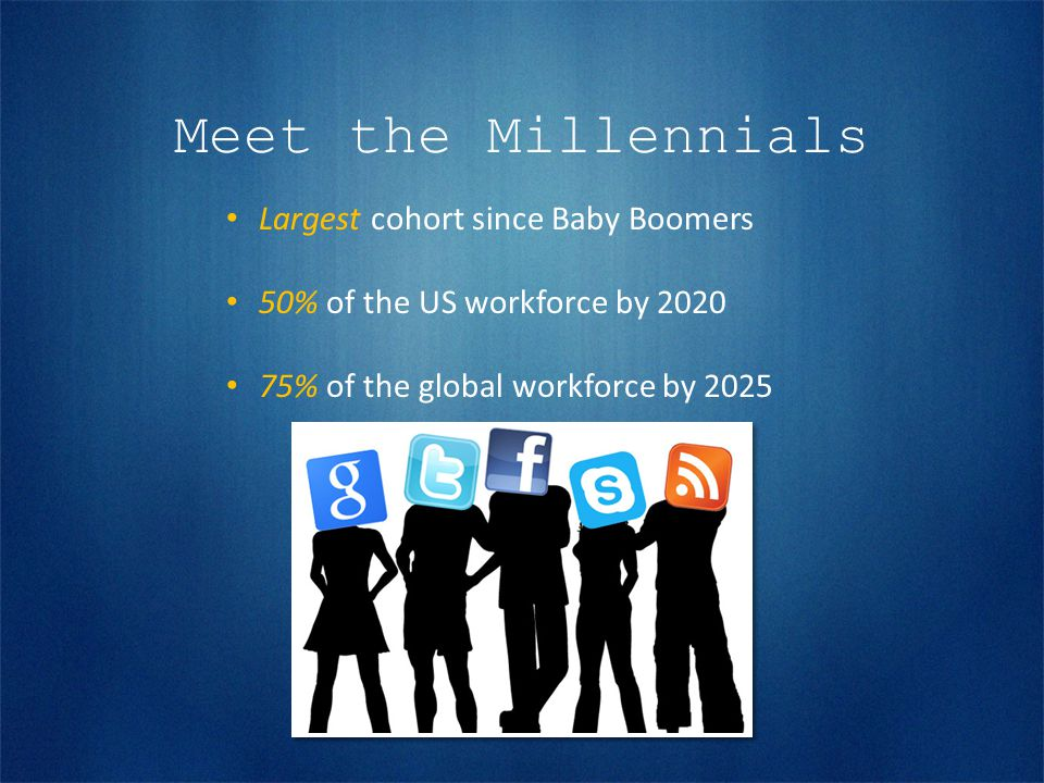 Meet the Millennials Largest cohort since Baby Boomers 50% of the US workforce by 2020 75% of the global workforce by 2025
