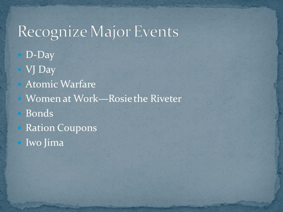 D-Day VJ Day Atomic Warfare Women at Work—Rosie the Riveter Bonds Ration Coupons Iwo Jima