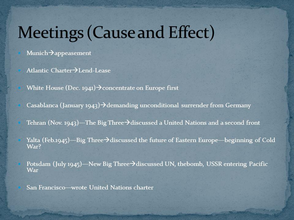Munich  appeasement Atlantic Charter  Lend-Lease White House (Dec. 1941)  concentrate on Europe first Casablanca (January 1943)  demanding uncondi