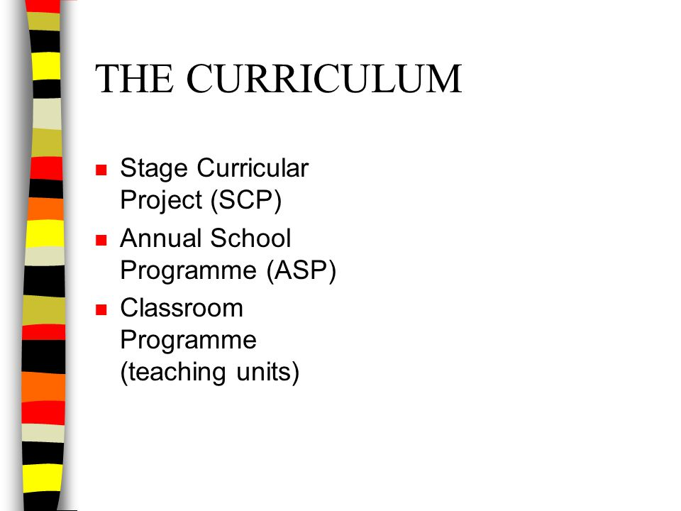 THE CURRICULUM n Stage Curricular Project (SCP) n Annual School Programme (ASP) n Classroom Programme (teaching units)