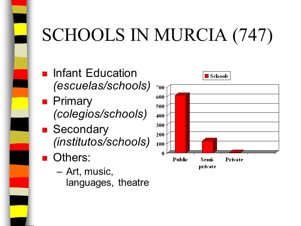 SCHOOLS IN MURCIA (747) n Infant Education (escuelas/schools) n Primary (colegios/schools) n Secondary (institutos/schools) n Others: –Art, music, lan