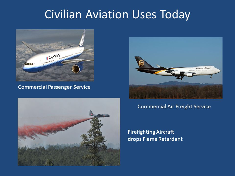 Civilian Aviation Uses Today Commercial Passenger Service Firefighting Aircraft drops Flame Retardant Commercial Air Freight Service