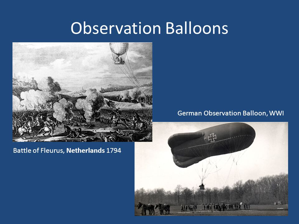Observation Balloons Battle of Fleurus, Netherlands 1794 German Observation Balloon, WWI