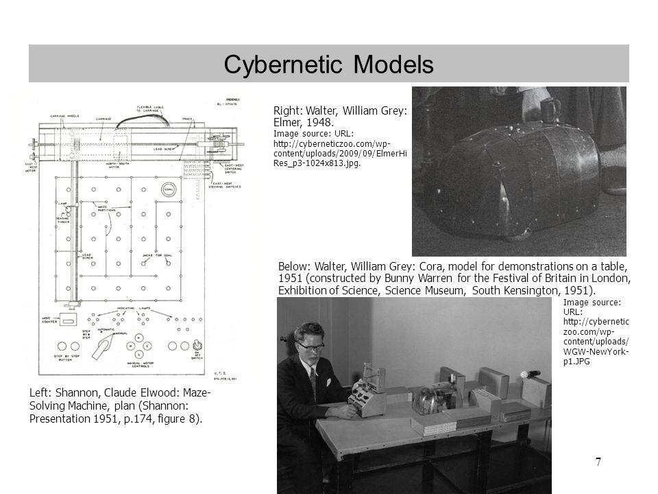 7 Cybernetic Models Left: Shannon, Claude Elwood: Maze- Solving Machine, plan (Shannon: Presentation 1951, p.174, figure 8).