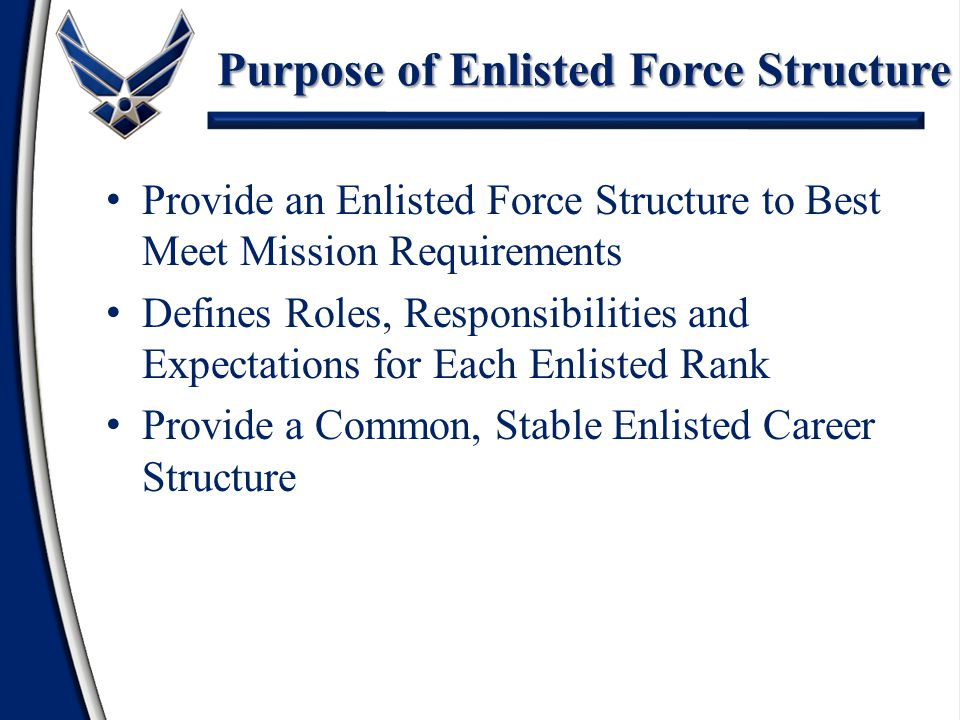 The Enlisted Force Structure Philosophy – Provide Consistent, Well-defined Expectations and Standards – Opportunity for Growth for All Airmen – Reflect Air Force Core Values