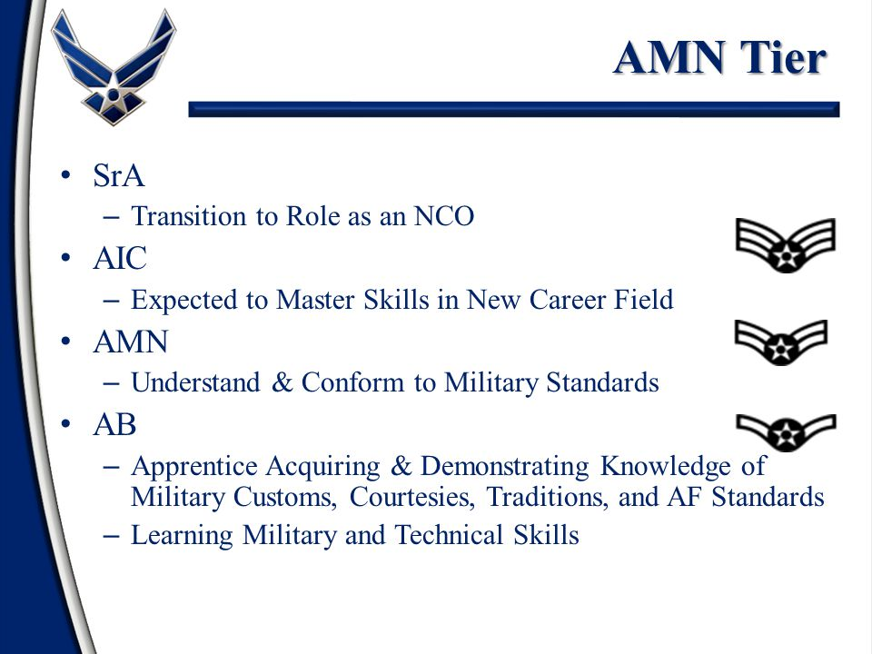 NCO Tier TSgt – Organizational Technical Experts – Provide Sound Supervision and Training SSgt – Highly Skilled Technicians – Supervisory and Training Responsibilities – Develop Supervisory Competence