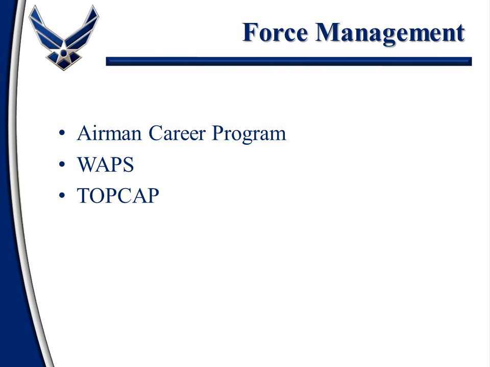 References NCOs Must Be Familiar With UCMJ, Manual For Courts Martial; DoD 5500.7R, Joint Ethics Regulation; & AFPD 36-29, Military Standards Mission & History of AF Mission and Unit of Assignment Customs & Courtesies AF Promotion Program (AFI 36-2502, Airman Promotion Program) Enlisted Assignment System Air Force Awards and Decorations Program
