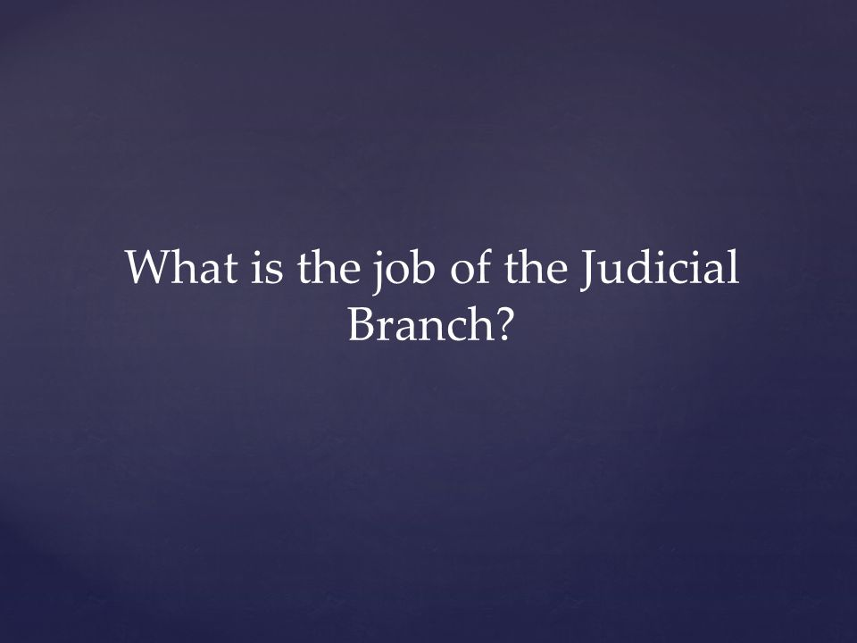 What is the job of the Judicial Branch?