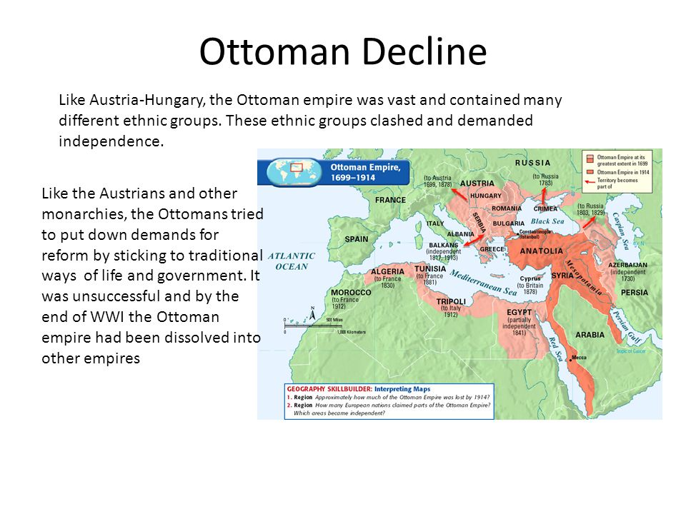 Ottoman Decline Like the Austrians and other monarchies, the Ottomans tried to put down demands for reform by sticking to traditional ways of life and government.