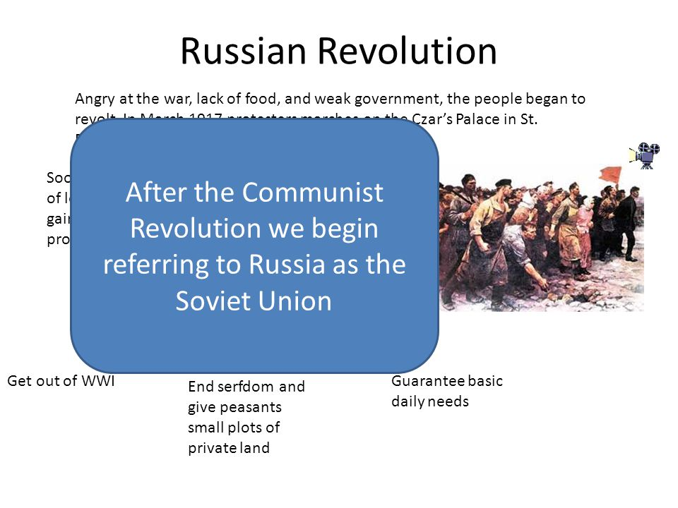 Russian Revolution Angry at the war, lack of food, and weak government, the people began to revolt.