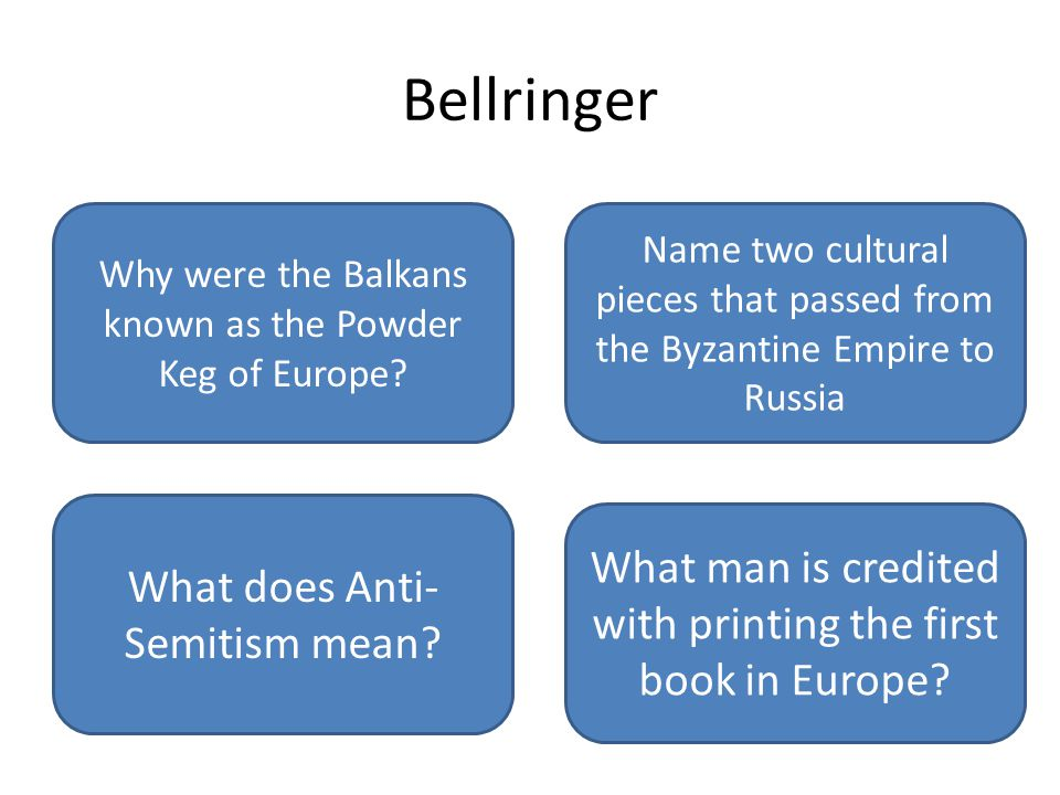 Johann Gutenberg Anti Jewish feelings Orthodox Christianity, Absolute rulers, onion domes Nationalism caused high tensions between ethnic groups Bellringer Why were the Balkans known as the Powder Keg of Europe.