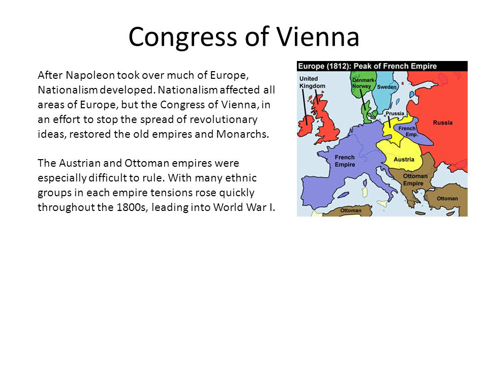 Congress of Vienna After Napoleon took over much of Europe, Nationalism developed.