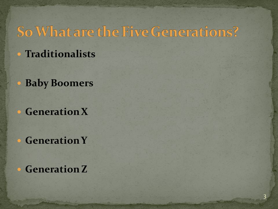 Traditionalists Baby Boomers Generation X Generation Y Generation Z 3