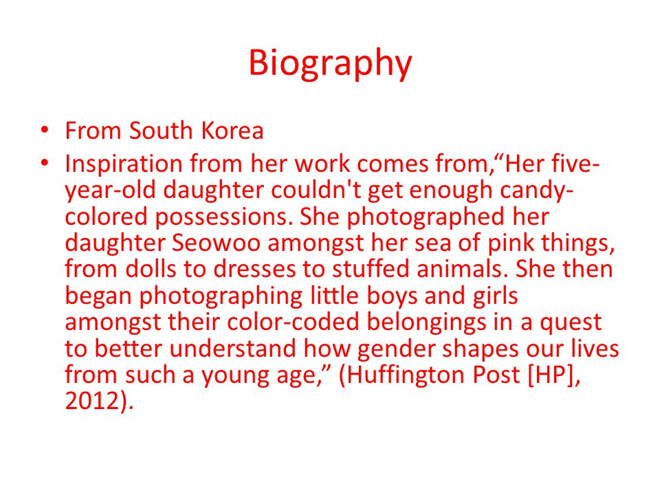 Biography From South Korea Inspiration from her work comes from, Her five- year-old daughter couldn t get enough candy- colored possessions.